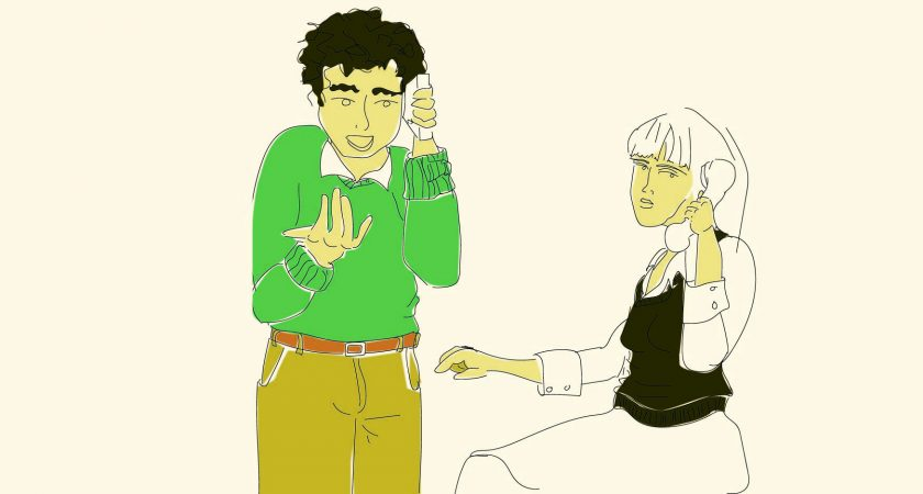 Illustration: Man on the phone talking and Woman (representing DSC) on the phone listening