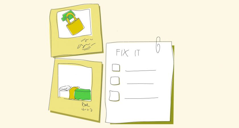 Illustration: of photos and a paper with a list on it and the words fix it