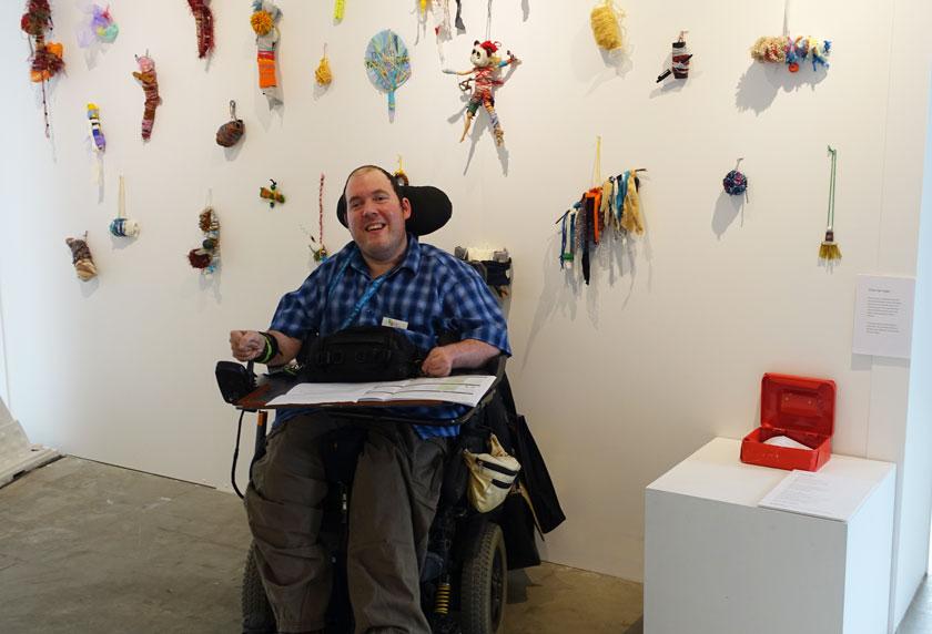 Chris van Ingen with his art piece 'Lock Box'