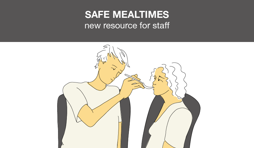 Illustration of a support worker assiting with meal.