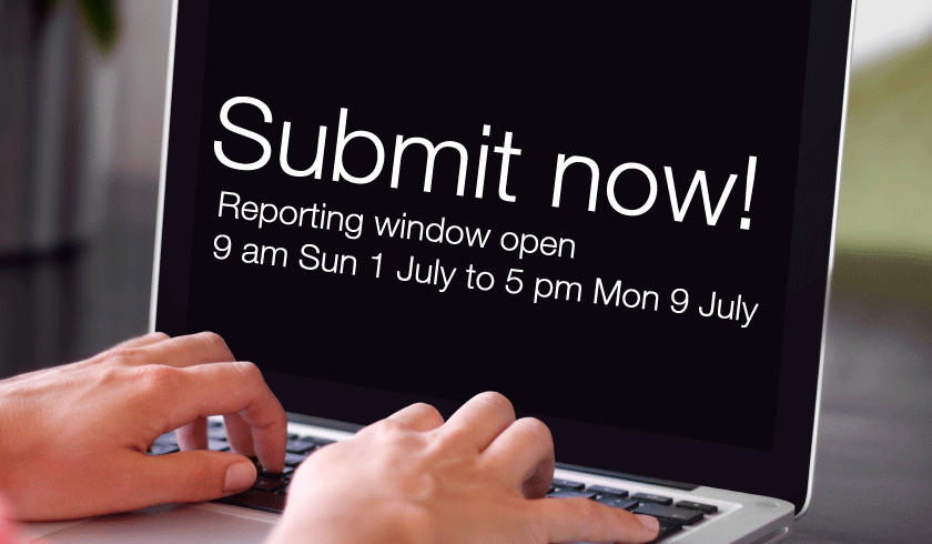 Submit now reporting window open 9 am Sun 1 July to 5 pm Mon 9 July