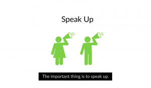 Icon of a woman next to a man each with a loudspeaker under text 'Speak up'