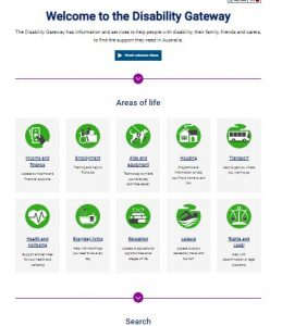 Disability Gateway webpage menu options