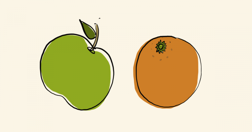 An apple and orange.