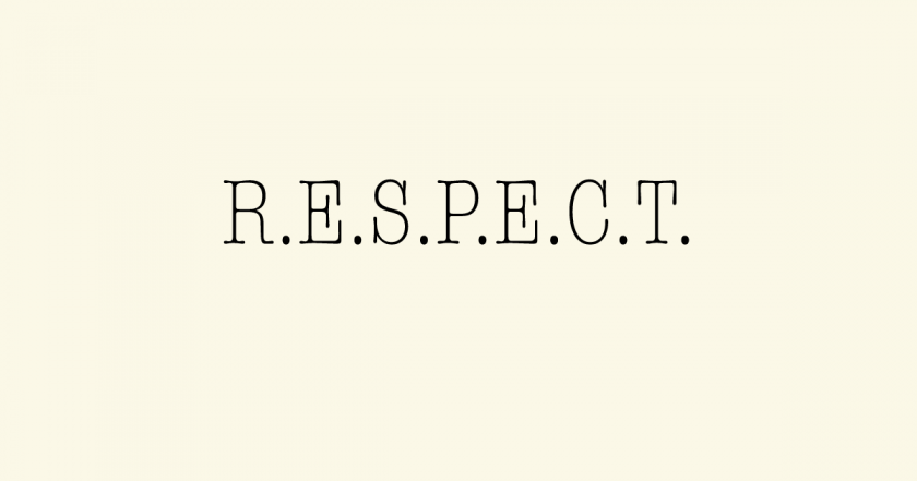"The word ""respect"" is displayed with full stops between each letter."