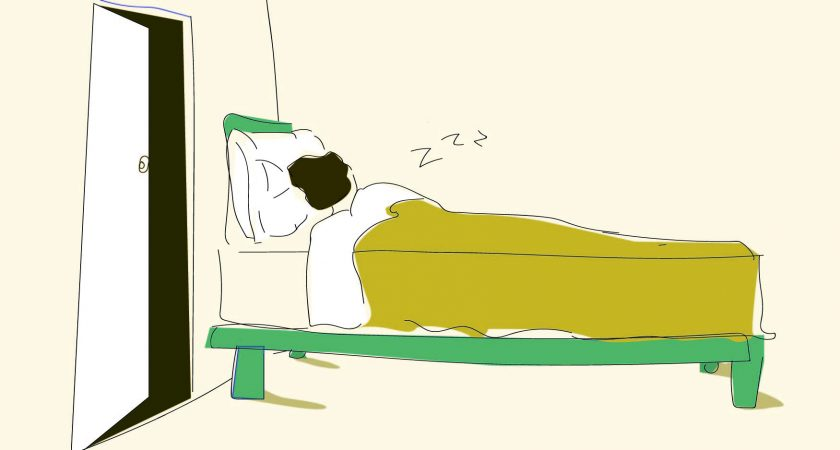 Illustration: Man (Bob) sleeping in his bed