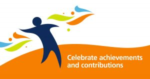 decorative image IDPWD logo and text saying Celebrate achievements and contributions